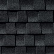 Close up photo of GAF's Timberline HD Charcoal shingle swatch